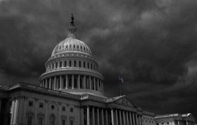 Naklejka Dark storm clouds above the US Capitol in Washington DC