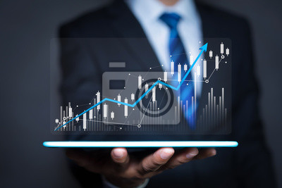 Naklejka Data analytics report and key performance indicators on information dashboard for Business strategy, Stock market indicator or forex trading graph and financial investment