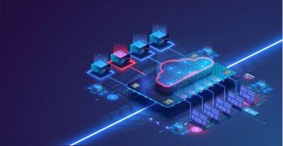 Naklejka Data center isometric concept. Server room with hardware racks or web hosting infrastructure. Blue web banner. Concept of big data storage and cloud computing technology. 3d Vector illustration