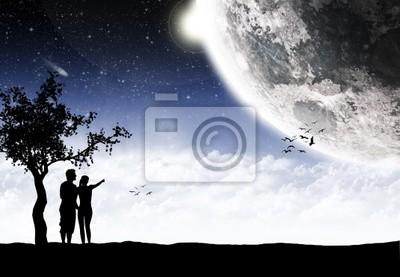Naklejka Dawaj kochanie księżyc