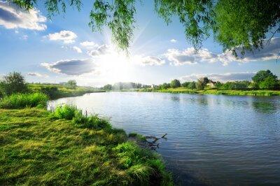 Naklejka Day on a river