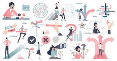 Naklejka Decisions, doubt, dilemma or question elements in tiny persons collection set. Various mini scenes items with business path or career route choice vector illustration. Various direction arrow options