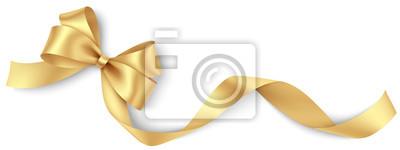 Naklejka Decorative golden bow with long ribbon isolated on white background. Holiday decoration. Vector illustration