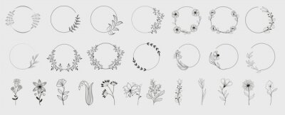 Naklejka Decorative round floral frames made of blooming flowers hand drawn with contour lines on white background. Vintage laurel wreaths collection. Set of circular natural design element.Vector illustration