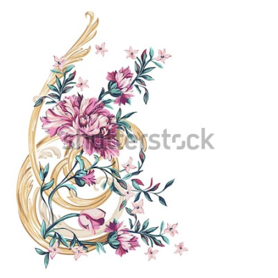 Naklejka dekoracyjne kwiaty ze wzorem barocco na białym tle