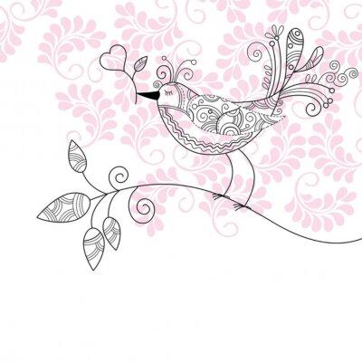 Naklejka dekoracyjne ptaka z kwiatem