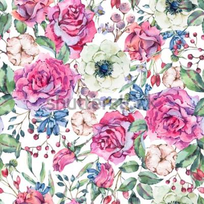Naklejka Dekoracyjne rocznika akwarela różowe róże, natura wzór z kwiatami, zawilec, bawełna, liść i pąki, botaniczny ilustracja kwiatowy na białym tle