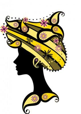 Naklejka Dekoracyjne sylwetka kobiety z kwiatami