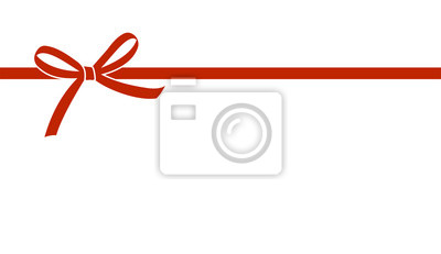 Naklejka Dekoracyjny piękny czerwony łęk z horyzontalnym faborkiem odizolowywającym na białym tle. Wektor łuk.