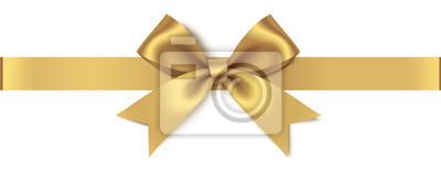 Naklejka Dekoracyjny złoty łęk z horyzontalnym faborkiem odizolowywającym na białym tle. Ilustracji wektorowych