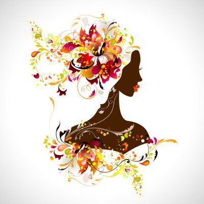 Naklejka Dekoracyjnych kompozycji z dziewczyną