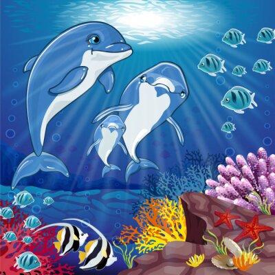 Naklejka Delfiny na dnie morza