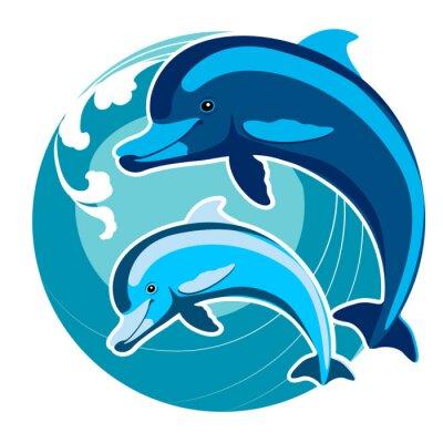 Naklejka Delfiny pośród fal. Symbol ochrony. Feng Shui