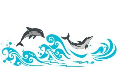 Naklejka Delfiny skoków w morskie fale