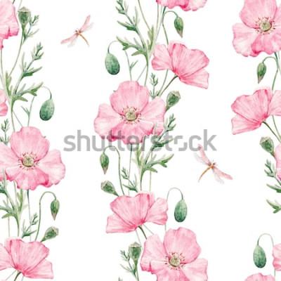 Naklejka Delikatny wzór akwareli w kolorach różowego maku, ważki, pionowy wzór botaniczny