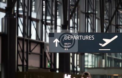 Naklejka Departures airport street sign