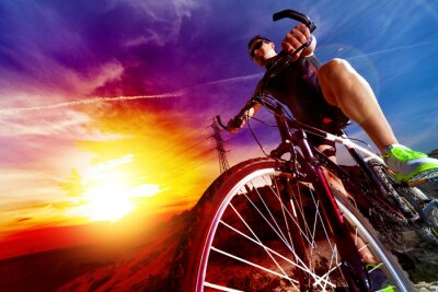Naklejka Deporte y Vida Saludable. Bicicleta de Montaña y Puesta del Sol.
