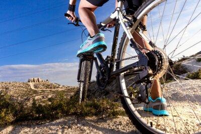 Naklejka Deportes. Bicicleta de montaña y hombre.Deporte en exterior