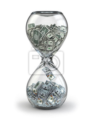 Naklejka Deposit or investment. Growth of the dollar. Hourglass.