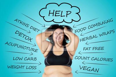 Naklejka Depressed fat woman thinking her problems