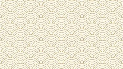 Naklejka Deseniowego bezszwowego okręgu abstrakta fala tła złocisty luksusowy kolor i linia. Japoński wektor wzór koła.