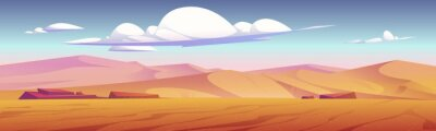 Naklejka Desert landscape with golden sand dunes and stones under blue cloudy sky. Hot dry deserted african or mexican nature background with yellow sandy hills parallax scene, Cartoon vector illustration