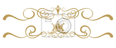 Naklejka Design elements on white background, ornament royal style, antiques, vintage, vector illustration