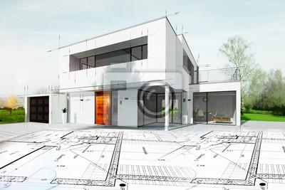 Naklejka Dessin d'une maison d'architecte plan avec