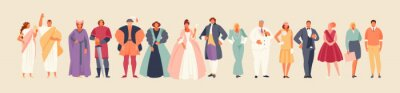 Naklejka Development of fashion from ancient times to the present. Clothes and costume history vector illustration