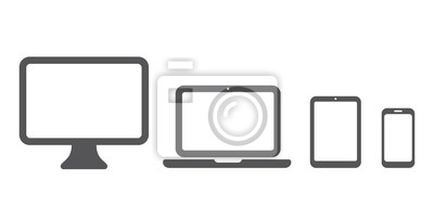 Naklejka Device icon: Computer, laptop, tablet and smartphone set. Vector illustration