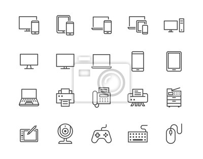 Naklejka Devices flat line icons set. Pc, laptop, computer, smartphone, desktop, office copy machine vector illustrations. Outline minimal signs for electronic store. Pixel perfect 64x64. Editable Strokes