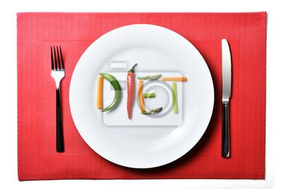 Naklejka dieta napisana z warzywami w koncepcji zdrowego żywienia