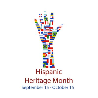 Naklejka  Different Flags of America on silhouette people hand.  Cultural and ethnic diversity. National Hispanic Heritage Month.