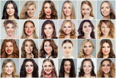 Naklejka Different women faces collage. Woman faces smiling and laughing, positive emotions, emotional expression