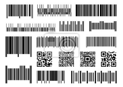 Digital barcode. Supermarket barcodes, scan code bars and industrial price label vector set. Product inventory, digital verification sticker. Packaging unique labels isolated on white background