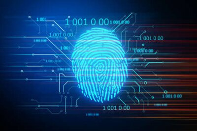 Naklejka Digital security and private data access, fingerprint scanner. Business and security concept. 3D Rendering