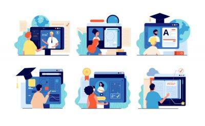 Naklejka Distance school. Internet education, online training and course. Computer presentation, university video. People testing website vector set. Illustration education distance university e-learning