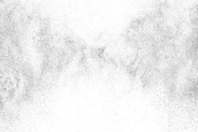 Naklejka Distressed black texture. Dark grainy texture on white background. Dust overlay textured. Grain noise particles. Rusted white effect. Grunge design elements. Vector illustration, EPS 10.