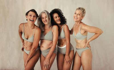 Naklejka Diverse and happy women of different ages