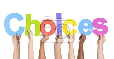 Naklejka Diverse ręce gospodarstwa na wybór programu Word
