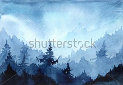 Naklejka Dłoń akwarela ciągniona ilustracja z zimowego lasu. Zimowy pejzaż z choinek. kartka świąteczna