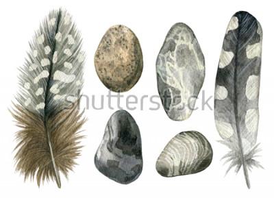 Naklejka Dłoń akwarela ciągnione zestaw szary piór ptaków i kamyków. Kolekcja kolorowe boho na białym tle