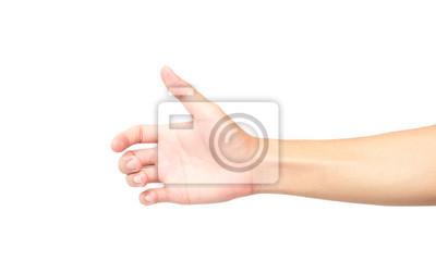 Naklejka Dłoń trzymająca coś na białym tle