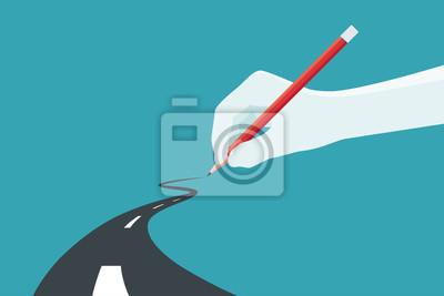 Naklejka Dłoń trzymająca ołówek. Koncepcja ścieżki do sukcesu biznesowego w wyborze własnego. Ilustracji wektorowych.