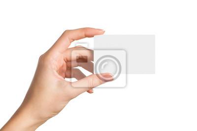Naklejka Dłoń trzymająca pustej wizytówki