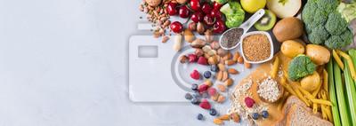 Naklejka Dobór zdrowych, bogatych włókien żywności wegańskiej do gotowania