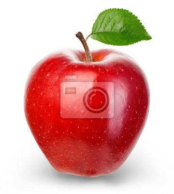 Naklejka Dojrzałe czerwone jabłko na białym tle.