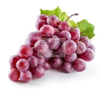 Naklejka Dojrzałe czerwone winogrona. Różowa wiązka z liśćmi samodzielnie na białym tle. Z clipping path. Pełnej głębi ostrości.