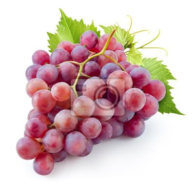 Naklejka Dojrzałe czerwonych winogron. Różowy Pęczek z liśćmi na białym tle. zc