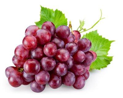 Naklejka Dojrzałe czerwonych winogron z liśćmi samodzielnie na białym tle
